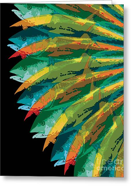 Fish Digital Greeting Cards - Fish Vortex, Radiant Greeting Card by Kevin McCalley
