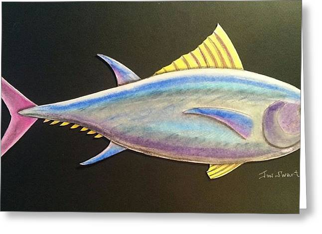 Aquatic Life Pastels Greeting Cards - Fish with Pink Tail Greeting Card by Jon Swart