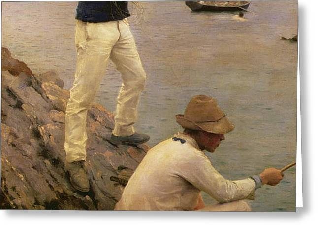 Fisher Boys Falmouth Greeting Card by Henry Scott Tuke