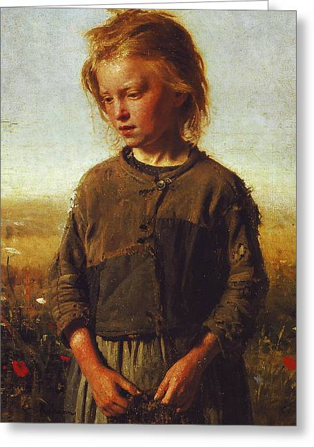 Impoverished Greeting Cards - Fisher girl Greeting Card by Ilya Efimovich Repin