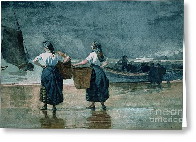 Marina Night Greeting Cards - Fisher Girls by the Sea Greeting Card by Winslow Homer