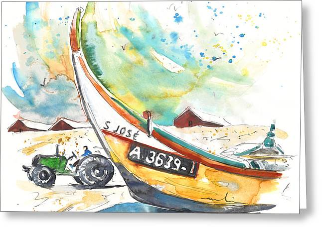 Atlantic Beaches Drawings Greeting Cards - Fisherboat in Praia de Mira Greeting Card by Miki De Goodaboom