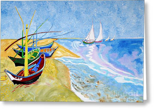 Van Gogh Style Greeting Cards - Fisherboats- Tribute to Van Gogh Greeting Card by Art by Danielle