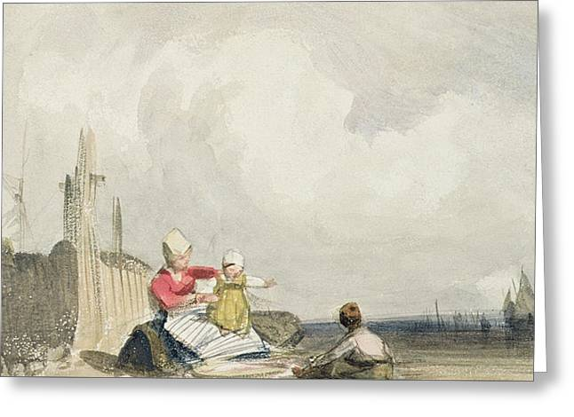 Boats On Water Drawings Greeting Cards - Fisherfolk on the Beach Greeting Card by Richard Parkes Bonington