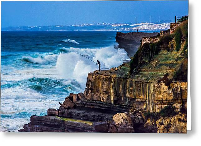 Rugged Cliffs Greeting Cards - Fisherman and the Sea Greeting Card by Marion McCristall