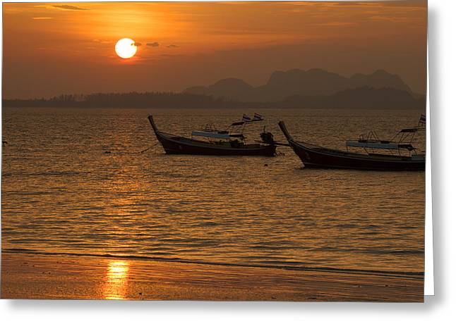 Boats In Water Greeting Cards - Fisherman boats Greeting Card by Narongchai Saelee