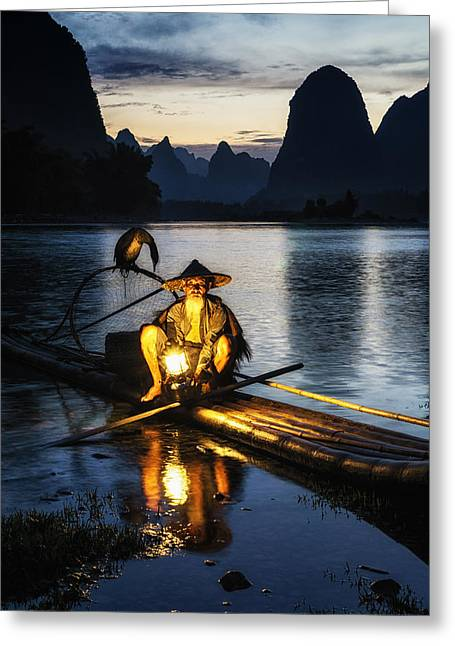 Cloth Greeting Cards - Fisherman by the river Greeting Card by Insung Choi