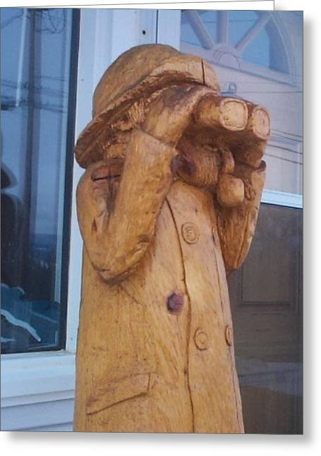 Chainsaw Carving Sculptures Greeting Cards - Fisherman Greeting Card by Deverne Rushton