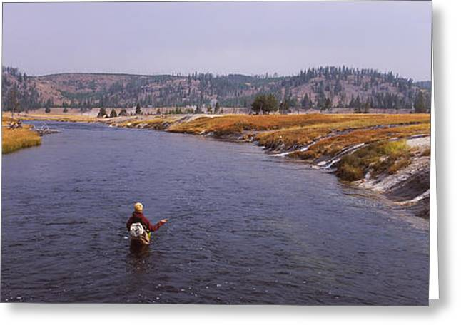 Fisherman Fishing In A River, Firehole Greeting Card by Panoramic Images