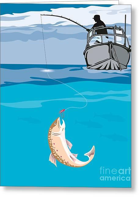 Trout Fishing Greeting Cards - Fisherman Fishing Trout Fish Retro Greeting Card by Aloysius Patrimonio