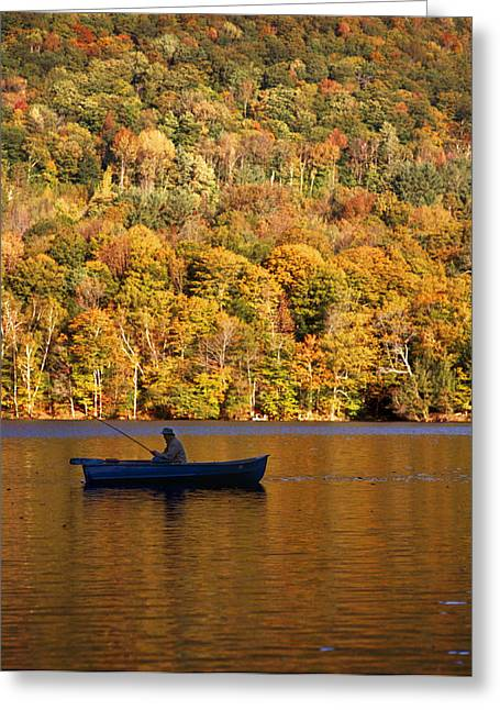Fall Trees Greeting Cards - Fisherman In Boat With Fall Foliage Greeting Card by Ink and Main