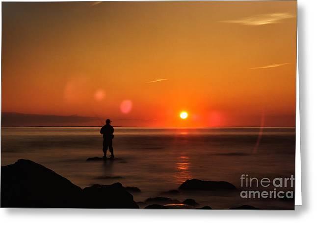 York Beach Greeting Cards - Fisherman in Montauk Sunrise Greeting Card by Alissa Rosenberg