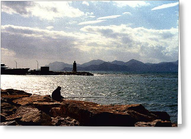 Mediterranean Landscape Digital Art Greeting Cards - Fisherman in Nice France Greeting Card by Nancy Mueller