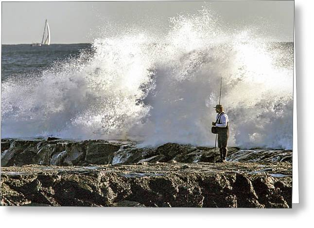 Fisherman In Storm  Greeting Card by Geraldine Scull