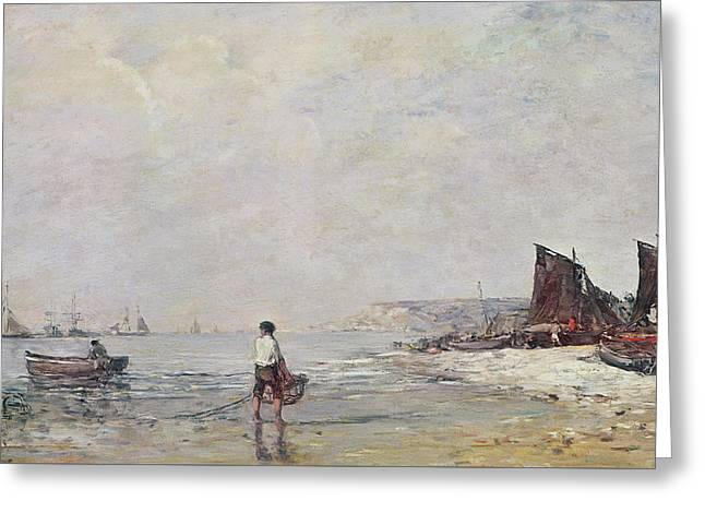 Fisherman In Villerville Greeting Card by Eugene Louis Boudin