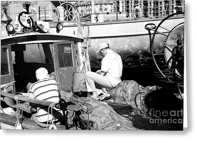 Fisherman Greeting Card by John Rizzuto