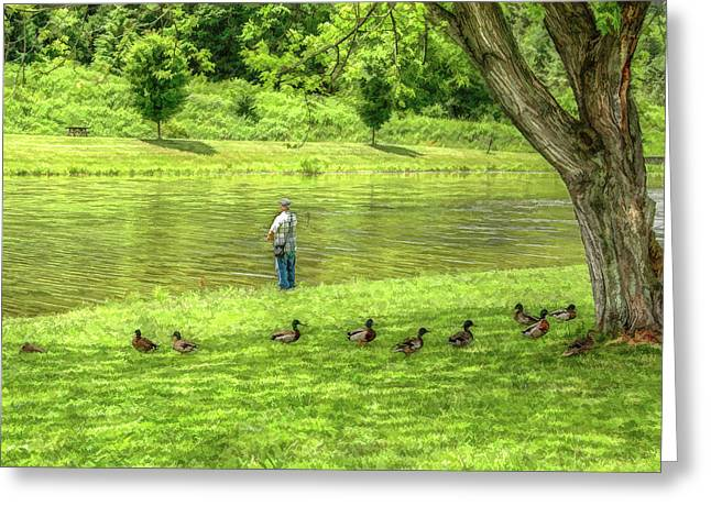Lazy Digital Art Greeting Cards - Fisherman Lazy Day at the Lake Greeting Card by Randy Steele