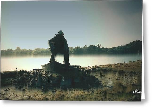 Foggy Ocean Mixed Media Greeting Cards - Fisherman Memorial Greeting Card by Julie  Grace