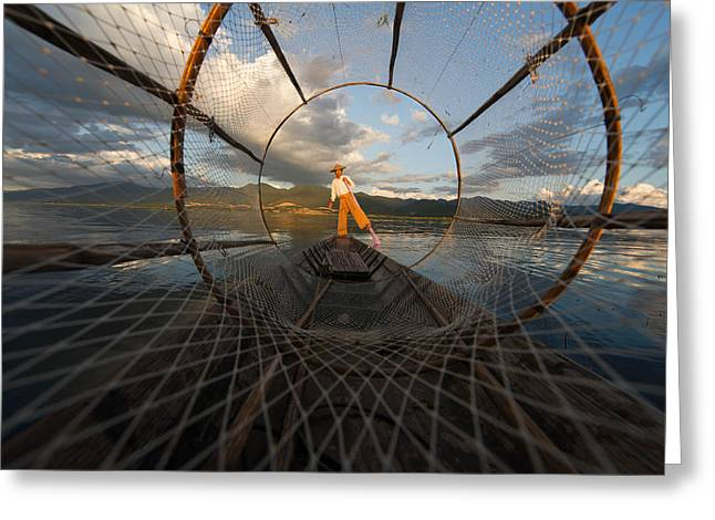 Net Greeting Cards - Fisherman On Inle Lake Greeting Card by Mark Prior