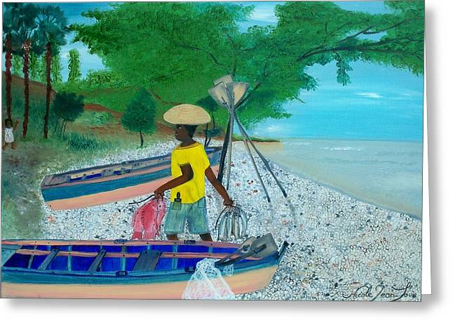 Snapper Paintings Greeting Cards - Fisherman Returning Home Greeting Card by Nicole Jean-louis