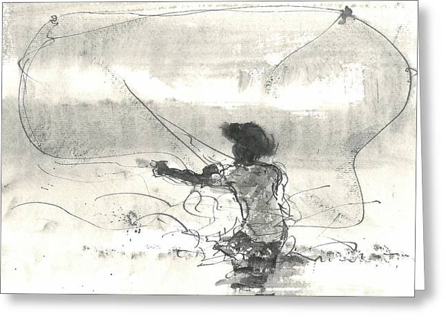 Ocean Shore Drawings Greeting Cards - Fisherman Sri Lanka Greeting Card by Lincoln Seligman
