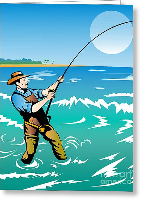 Fisherman Surf Casting Greeting Card by Aloysius Patrimonio