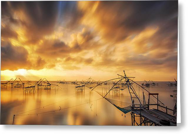Entrapment Greeting Cards - Fisherman tool with sunrise Greeting Card by Anek Suwannaphoom
