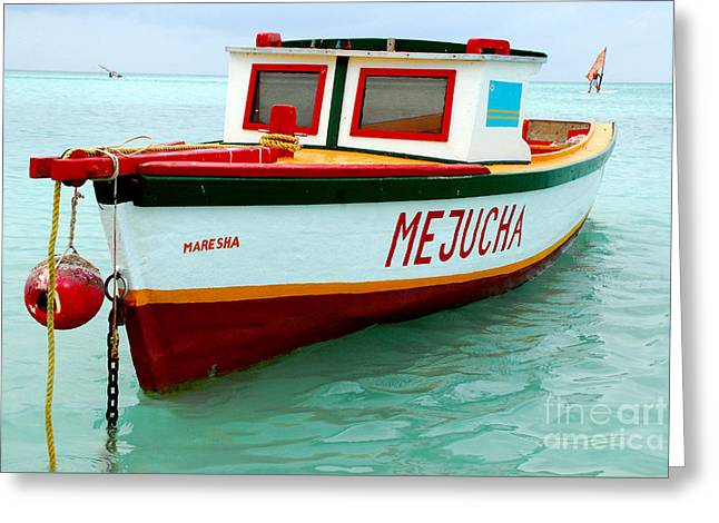 Beach Photos Greeting Cards - Fishermans Boat in Aruba Greeting Card by Frank Panaro