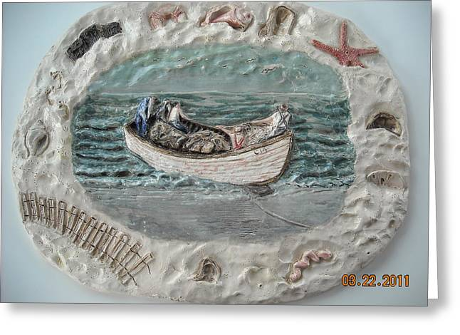 Transportation Reliefs Greeting Cards - Fishermans Catch Greeting Card by Doris Lindsey