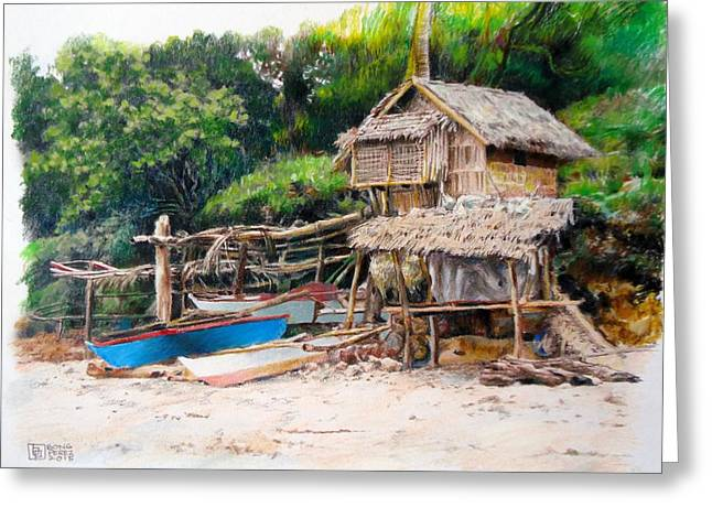 Filipino Artists Greeting Cards - Fishermans Hut Greeting Card by Bong Perez