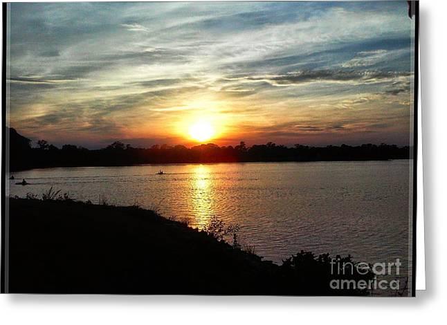 Canoe Greeting Cards - Fishermans Sunset Horizon Greeting Card by Tsmmz Tsmmz