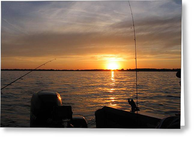 Fishing Boats Greeting Cards - Fishermans Sunset Greeting Card by Jack G  Brauer