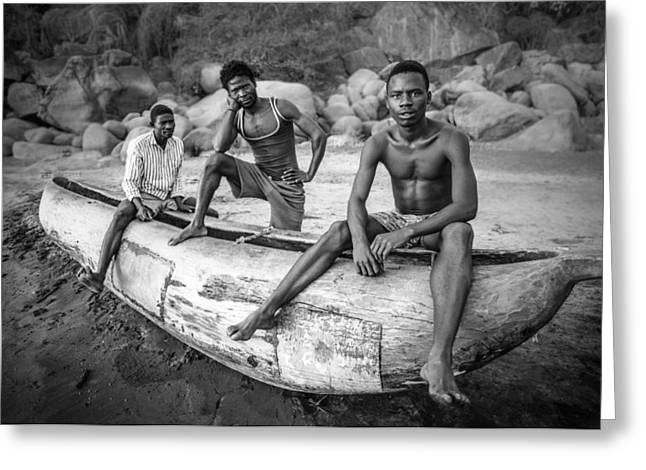 Canoe Photographs Greeting Cards - Fishermen Greeting Card by Carlos German Romero