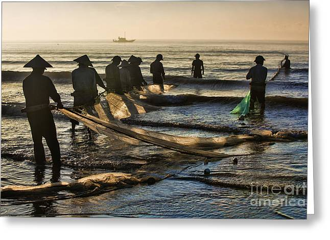 Haus Greeting Cards - Fishermen End of Day Vietnam Greeting Card by Chuck Kuhn