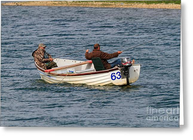 Fishermen In A Boat Greeting Card by Louise Heusinkveld