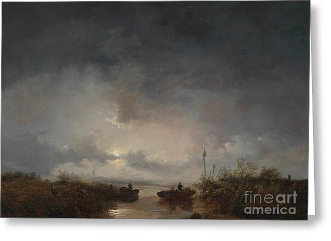 Fishermen In A Moonlit Greeting Card by Remigius Adrianus