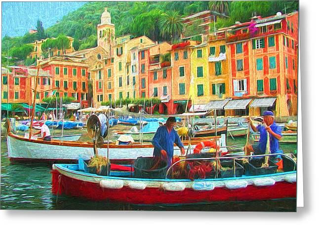 Fishermen In Portofino Greeting Card by Mitchell R Grosky