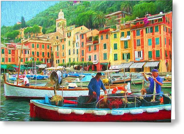 Portofino Italy Digital Greeting Cards - Fishermen in Portofino Greeting Card by Mitchell R Grosky