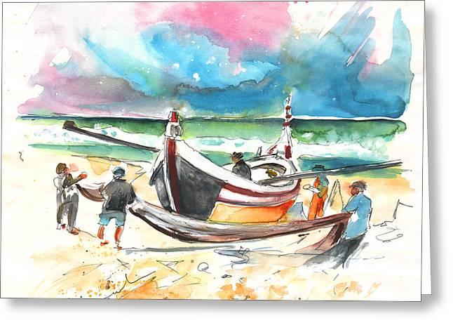 Atlantic Beaches Drawings Greeting Cards - Fishermen in Praia de Mira 03 Greeting Card by Miki De Goodaboom