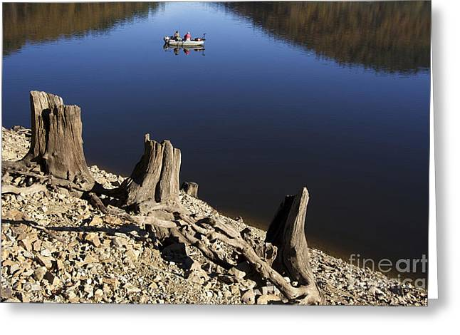 Body Of Water Greeting Cards - Fishermen. Lake of  Auvergne. France Greeting Card by Bernard Jaubert