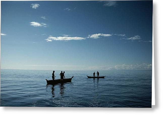 Concept Photographs Greeting Cards - Fishermen On Lake Malawi Greeting Card by Bill Curtsinger