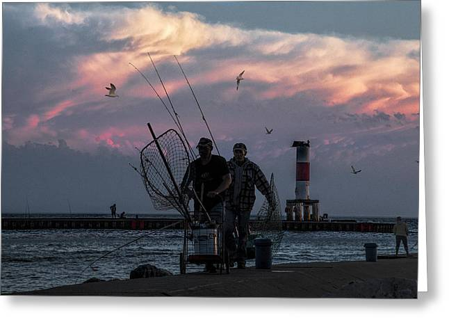 Randy Greeting Cards - Fishermen on the Breakwater Channel at Ottawa Beach Greeting Card by Randall Nyhof