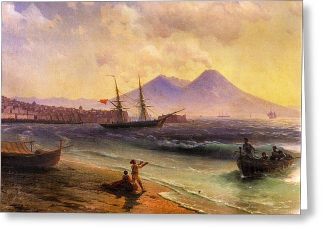 1874 Greeting Cards - Fishermen Returning near Naples 1874 detail Greeting Card by Ivan Aivazovsky