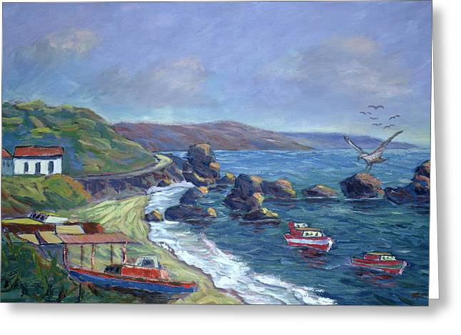 Flying Seagull Paintings Greeting Cards - Fishermens Rocks Greeting Card by Carlton Murrell