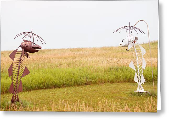 Fishes Under Umbrella  Greeting Card by Art Spectrum