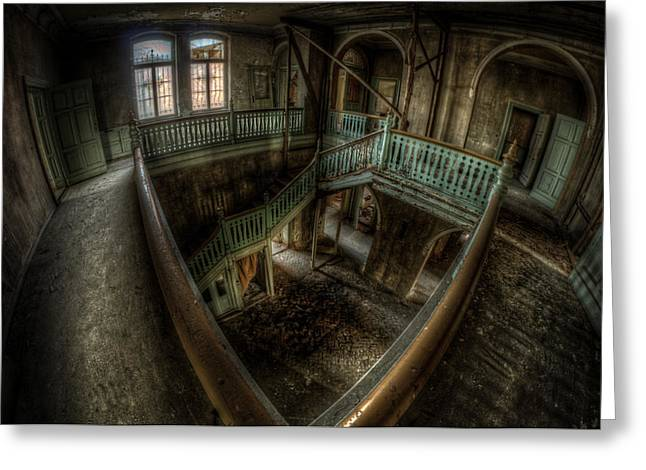 Ghostly Greeting Cards - Fisheye from above Greeting Card by Nathan Wright