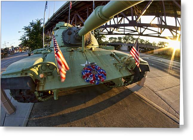 Ewing Greeting Cards - Fisheye view of tank as a memorial to veterans Greeting Card by Sven Brogren