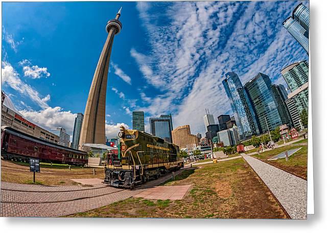 Caboose Greeting Cards - Fisheye View of Toronto Greeting Card by Steve Harrington