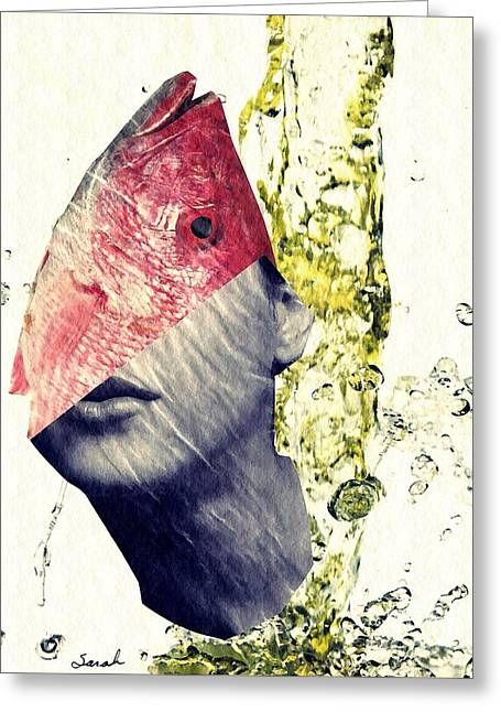 Fishhead Greeting Card by Sarah Loft