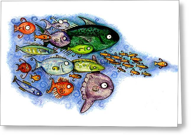 Mola Greeting Cards - Fishies Greeting Card by Kirsten Carlson